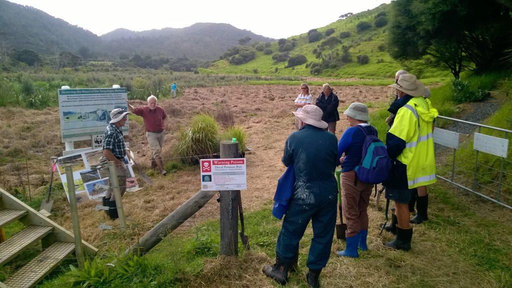 Community planting day briefing, Tangatapu floodplain ecological restoration, Bay of Islands, New Zealand